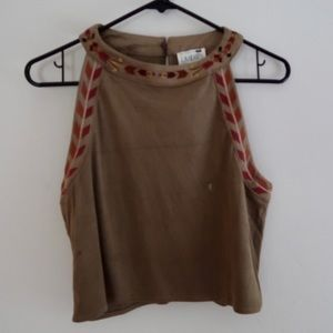Faux Suede Embroidered High Neck Halter Top